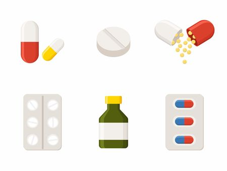 Medicine icons - Pills, Capsules and Prescription Bottle. Drugs illustration.