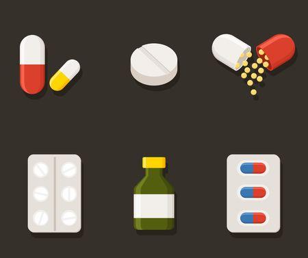 Medicine icons - Pills, Capsules and Prescription Bottle. Drugs illustration