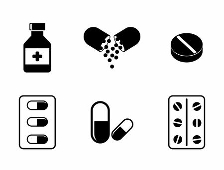 Geneeskunde pictogrammen - pillen, capsules en Fles van het Voorschrift. Drugs illustratie.