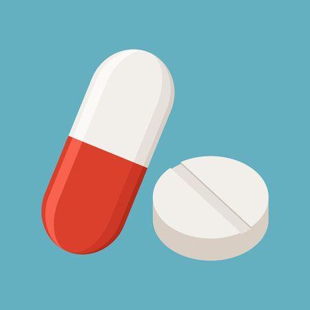 Drogen und Pillen auf blauem Hintergrund, Medizinische Pille, Tablet-Symbol.