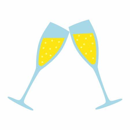 Champagne de cristal aislado en fondo blanco. Ilustración de bodas Ilustración de vector