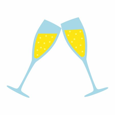 sparkling wine: Champagne Glass isolated on white background. Wedding Illustration