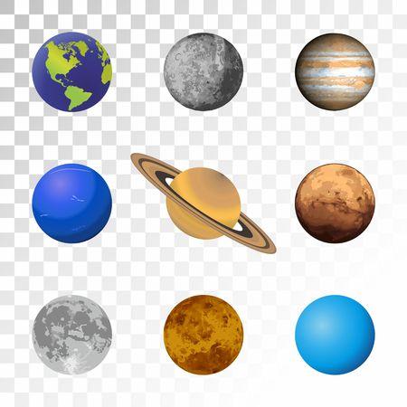 Planets colorful set on transparent background. Illustration