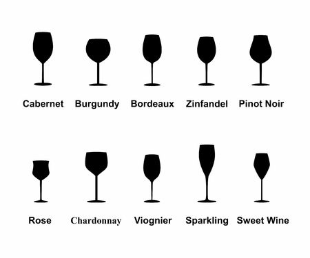types of glasses: Types of Wine Glasses, set icons collection. Illustration.