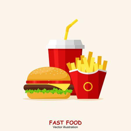 sandwich de pollo: Almuerzo con hamburguesas, patatas fritas y la sosa aisladas sobre fondo blanco. Grupo de productos de comida r�pida. Dise�o plano. Ilustraci�n del vector