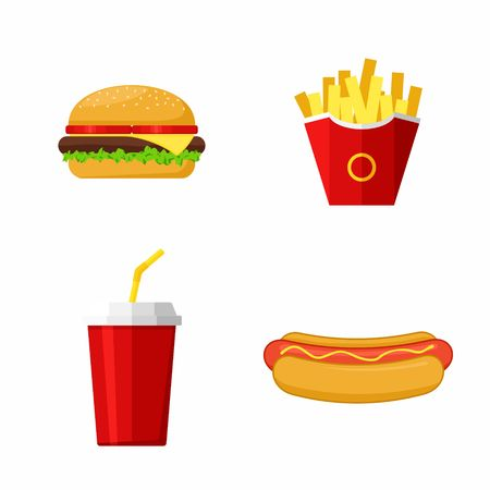 beef burger: Icons set lunch with Hamburger, Hot Dog,  French Fries and Soda. Group of Fast Food products. Vector Illustration