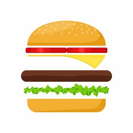 Hamburger ingrediënten vlees, sla, kaas en tomaat op een witte achtergrond. Fast Food Vector Illustration.