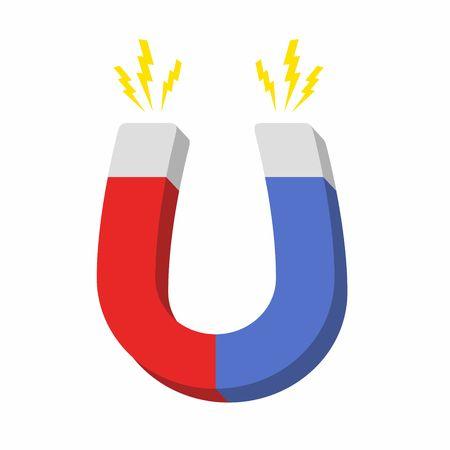magnetismo: Magnete a ferro di cavallo Blu e rosso, il magnetismo, magnetizza, attrazione. Design piatto. Illustrazione vettoriale.