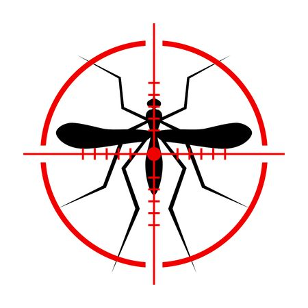 institutional: Silhouette of Mosquito and Crosshair. Insect, Culex pipiens isolated on white background. Vector Illustration. Illustration