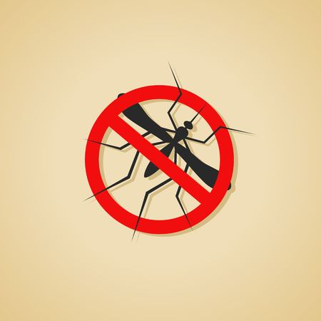 insect control: Mosquito warning sign. Silhouette of Insect, Culex pipiens isolated on brown background. Vector Illustration.