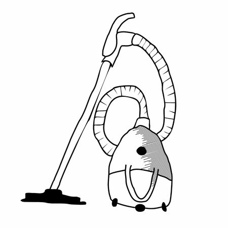 electric broom: Black Vacuum Cleaners. Hoover hand drawn isolated on white background. Vector Illustration. Illustration