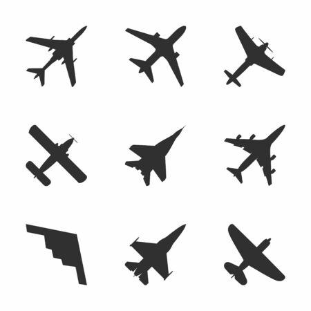 Airplane icons set: passenger plane, fighter plane and screw. Vector Illustration. Vektoros illusztráció