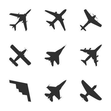 fixed wing aircraft: Airplane icons set: passenger plane, fighter plane and screw. Vector Illustration. Illustration