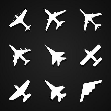 iconos de avión establecido: avión de pasajeros, avión de combate y tornillo en el fondo oscuro con la sombra. Ilustración del vector.