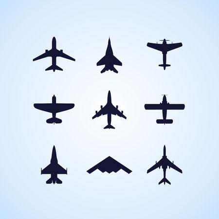 fighter plane: Airplane icons set: passenger plane, fighter plane and screw on blue background. Vector Illustration. Illustration