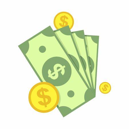 Gotówka, zielone dolary i monety ikonę na białym tle. Ilustracja wektora pieniędzy.