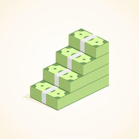 ascent: Money steps, Ascent to wealth, Pile of Cash ladder in flat style. Success Vector Illustration. Illustration