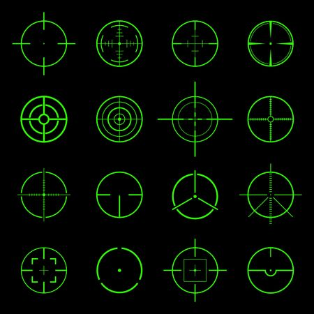 crosshair: Set of different flat vector Crosshair sign icons. Vector Illustration