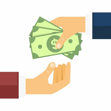 transfers: Hand giving money to other hand. Money Transfers, Buying and Selling in flat style. Vector Illustration.