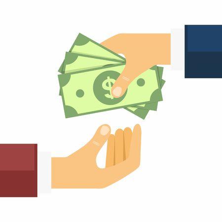 Main donner de l'argent à d'autre part. Transferts d'argent, achat et la vente dans un style plat. Vector Illustration. Banque d'images - 53961331