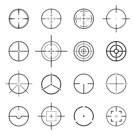 Set of different flat vector Crosshair sign icons. Vector Illustration