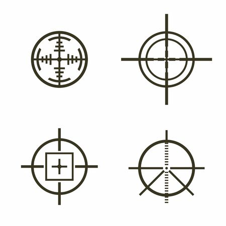 crosshair: Set of different flat Crosshair sign icons solated on white background. Vector Illustration.
