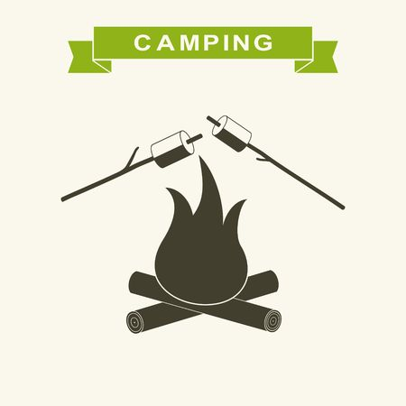 candy cartoon: Bonfire with marshmallow Icon. Camping grill marshmallow flat. Marshmallow outdoor campfire night. Vector Illustration
