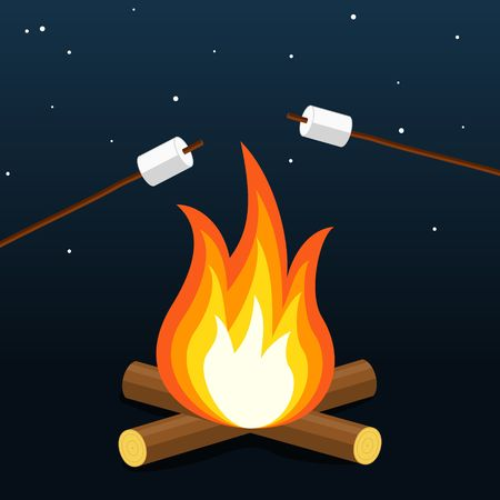 Bonfire with marshmallow. Camping grill marshmallow. Marshmallow outdoor campfire night. Vector Illustration Çizim