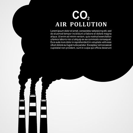 Air pollution. Factory or power plant emitting smoke. Smoking factory concept in Flat style. Vector illustration.