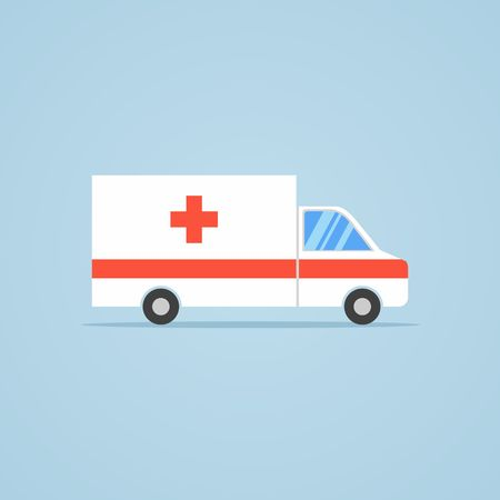 Ambulance car icon in flat design style isolated on blue background. Vector illustration.