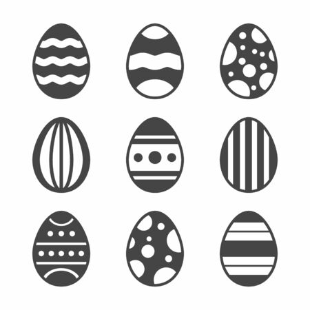 jack rabbit: A set of black Easter Eggs decorated with ornament on white background. Vector Illustration.