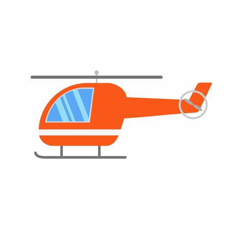 transposition: Orange cartoon Helicopter isolated on white background. Vector Illustration.