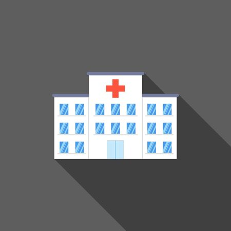 hospital icon: City Hospital building icon in flat design style with long shadow on dark background. Clinic Vector Illustration. Illustration