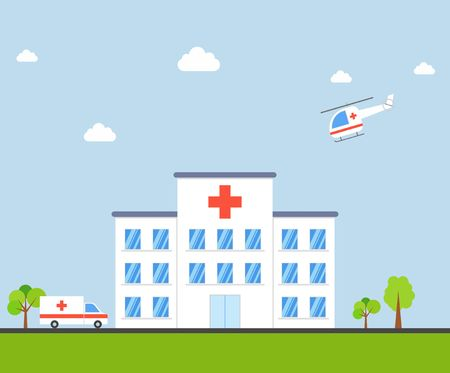 car care center: City Hospital building with ambulance and helicopter in flat design on blue background. Clinic Vector Illustration