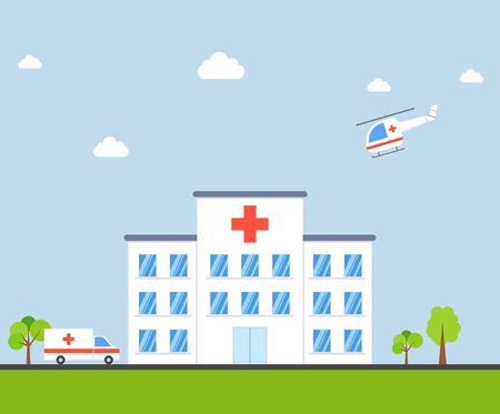 City Hospital gebouw met ambulance en helikopter in plat ontwerp op een blauwe achtergrond. Clinic Vector Illustration