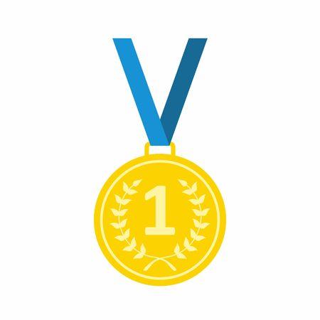 Gold Medal icoon. Medaille icoon in vlakke stijl op een witte achtergrond. vector Illustration