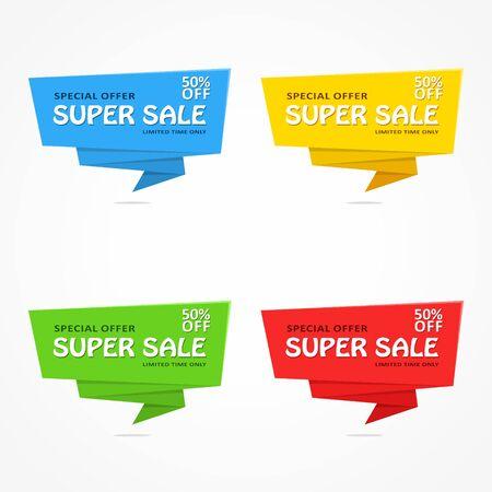 desing: Super Sale banner template desing on white background. Best offer. Vector Illustration