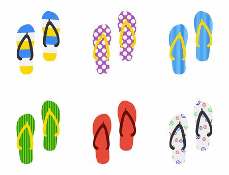 beach slippers: Set of Beach Slippers icon in flat style isolated on white background. Vector Illustration Illustration
