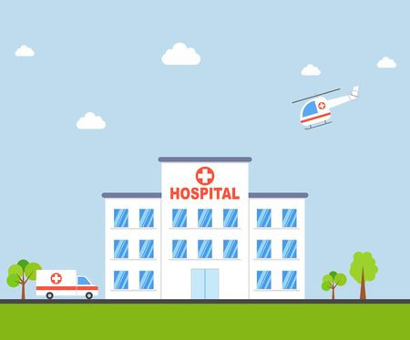car care center: City Hospital building with ambulance and helicopter in flat design. Clinic Vector Illustration. Illustration
