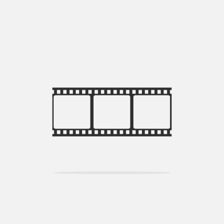35mm film motion picture camera: Film strip frame Icon in flat style isolated on gray background. Design element illustration