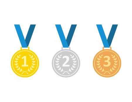 bronze medal: Set of gold medal, silver medal and bronze medal. Medals icons in flat style. Medals Icons isolated on blue background. Medals illustration. Illustration