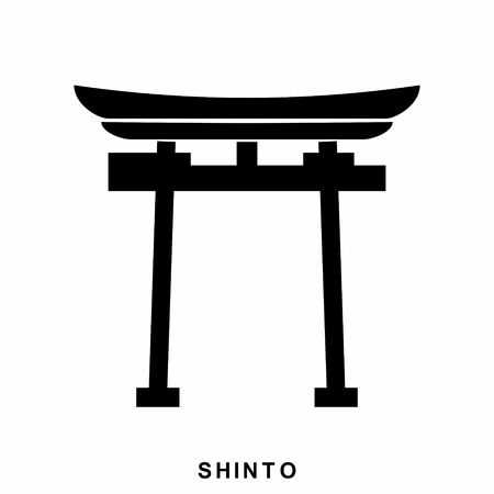 shinto: Japan Gate. Shinto - a symbol of Shintoism. Shinto icon in flat style isolated on white background