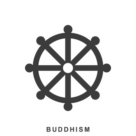 nirvana: Wheel of Dharma, Dharmachakra - a symbol of Buddhism and Hinduism. Buddhism icon in flat style isolated on white background Illustration