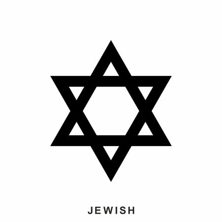 jewish star: Jewish Star of David icon in flat style isolated on white background. Jewish icon isolated on white background