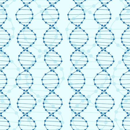 blue dna: Dna seamless pattern. Blue Dna science background.
