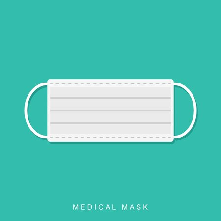 Medical mask in flat style isolated on blue background with shadow.