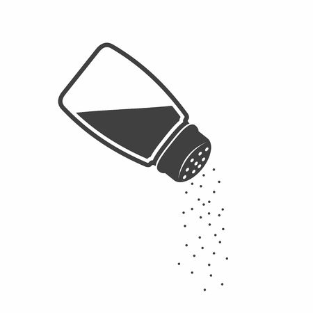 Salt shaker icon in flat style isolated on white background.  Baking and cooking ingredient. Food seasoning. Kitchen utensils salt shaker. illustration