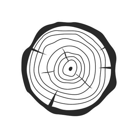 흰색 배경에 고립 된 플랫 스타일에서 나무 그 루터 기의 크로스 섹션. 나무 줄기 단면 자연 잘라 나무 조각 동그라미 목재 반지. 삽화
