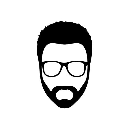 Hipster man. Hairstyle, beard and glasses  in flat style. Black Fashion silhouette hipster icon isolated on white background. Vector Illustration