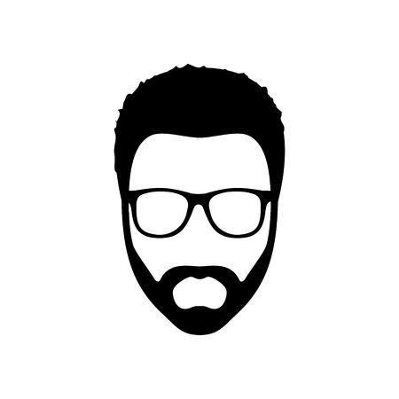 Hipster man. Kapsel, baard en een bril in vlakke stijl. Black Fashion silhouet hipster pictogram op een witte achtergrond. vector Illustration